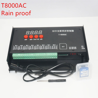 T8000 AC110 240V SD Card 8192Pixel Controller for WS2801 WS2811 LPD8806 MAX 8192 Pixels DC5V waterproof Rainproof RGB controller