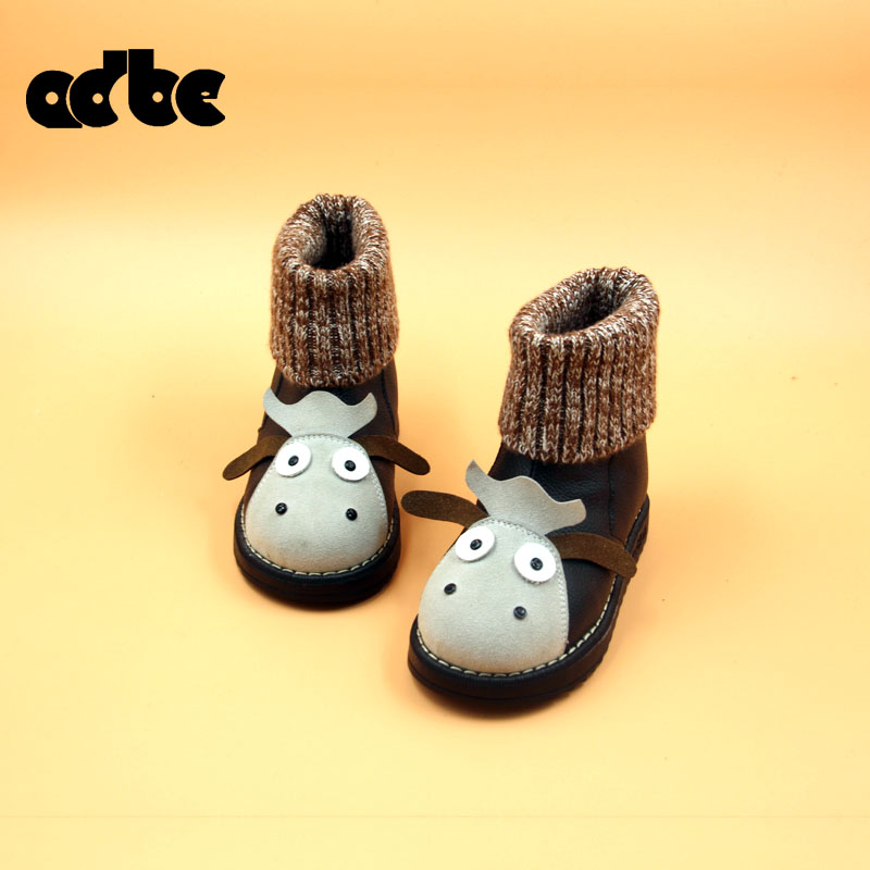 2015 winter shoes girls snow boots small dairy baby boys cartoon cow medium-leg boots casual boots snow boots kids shoes