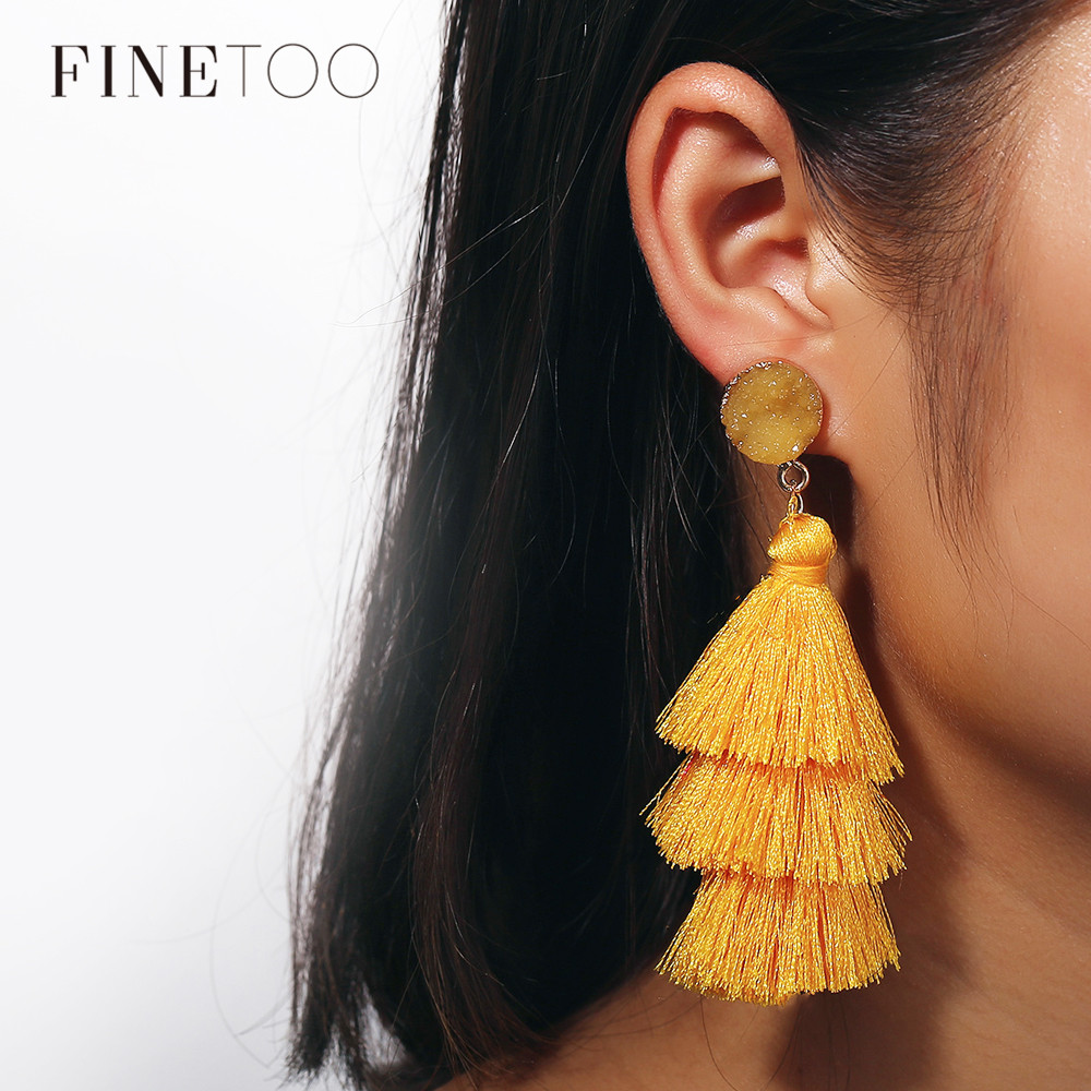 Bohemia Boho Dangle Earrings Girls Tiered Statement Layered Flower piercing Black