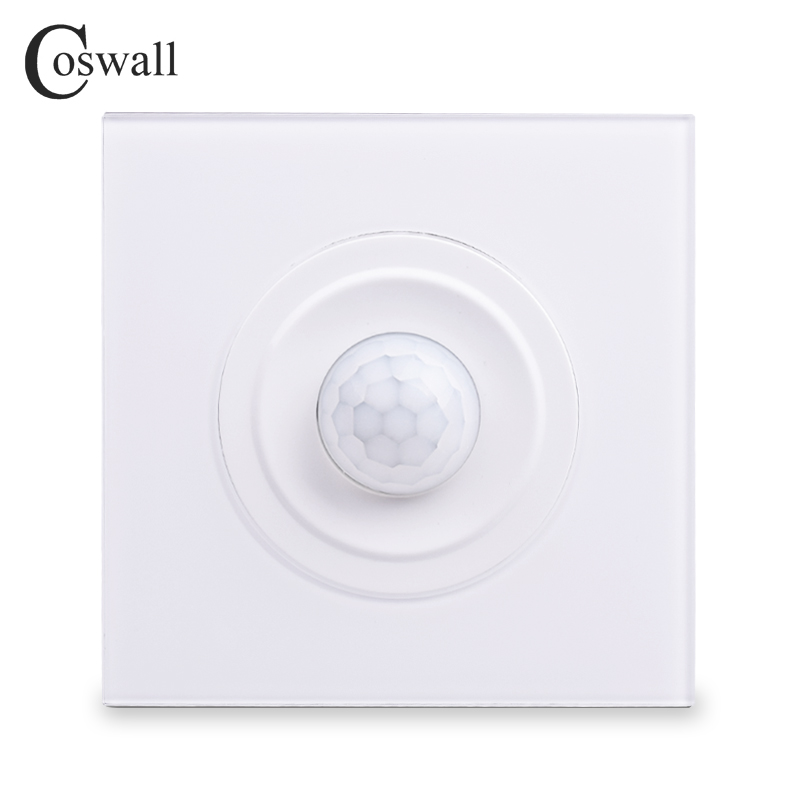 Coswall 2018 New Arrival Crystal Tempered Glass Panel Human Body Motion Sensor Switch Wall Interruptor  Power Light ConmutadorCoswall 2018 New Arrival Crystal Tempered Glass Panel Human Body Motion Sensor Switch Wall Interruptor  Power Light Conmutador