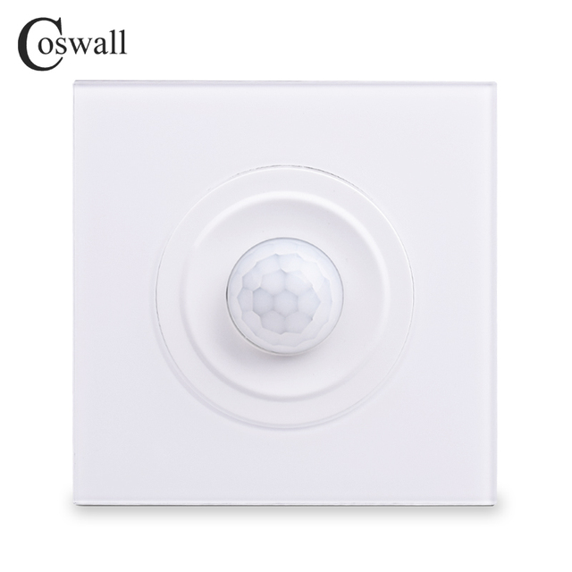 Coswall Crystal Tempered Glass White Panel Human Body Motion Sensor Wall Switch Adjustable Time Delay And Induction Distance