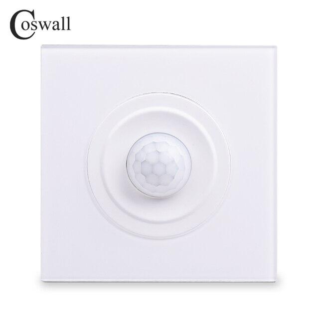 Coswallクリスタル強化ガラス白パネル人体モーションセンサー壁スイッチ調整可能な時間遅延と誘導距離