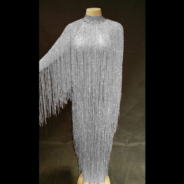 Bright Red Crystals Long Tassel Dress Female Singer Fringe Stage Performance Dance Wear Prom Party Ds Sexy Skinny Costume DJ DS