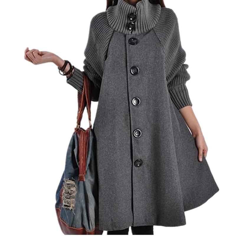 2018 Long Female Jacket Overcoat Cloak Windbreaker Loose Winter Wool Coat Women Autumn Manteau Femme Hiver Cape Warm Tweed  Fy02