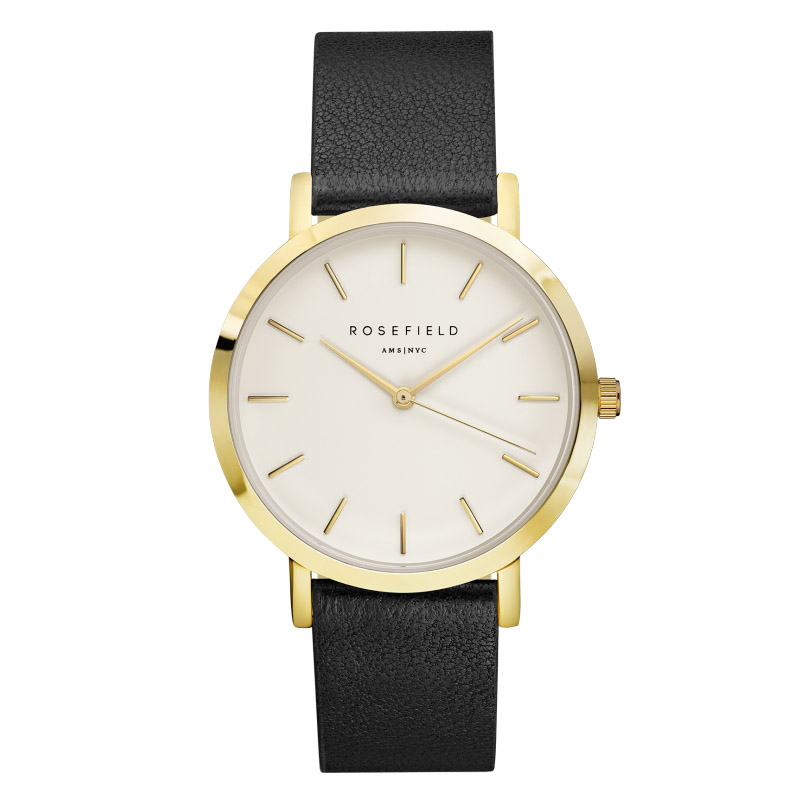 Ladies Ultra-Thin Watch - gold - black leather strap