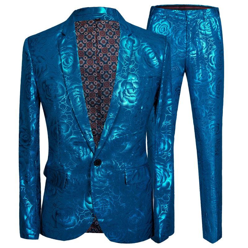 PYJTRL Mens Stylish Shiny Blue Rose Print 2 Pieces Set Latest Coat Pant Designs Men Suits For Weddingslim Fit Singers Clothing