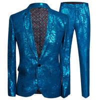 PYJTRL Mens Stylish Shiny Blue Rose Print 2 Pieces Set Latest Coat Pant Designs Men Suits For Weddingslim Fit Singers Clothing