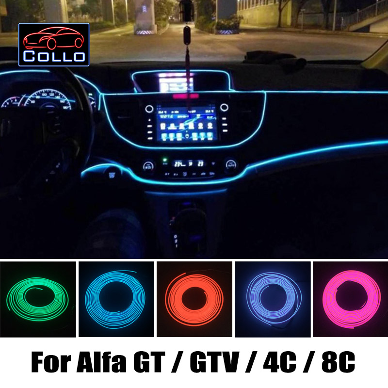 9M A Set EL Wire / For Alfa Romeo GT / GTV / 4C / 8C / Car Romantic Atmosphere Lamp / Console Decorative Strip / 9 Color Choice