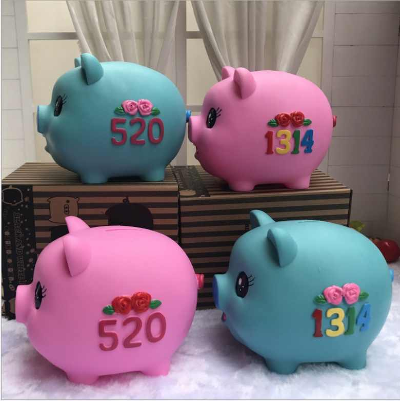 Pink Blue Pig Piggy Bank Large Capacity
