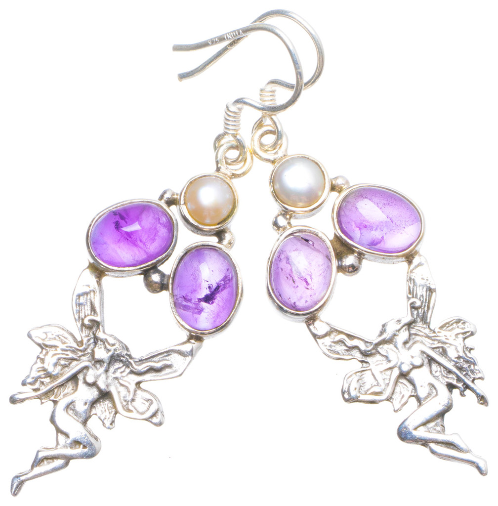 StarGems(tm) Natural Amethyst and River Pearl Handmade Unique 925 Sterling Silver Earrings 2 X4788