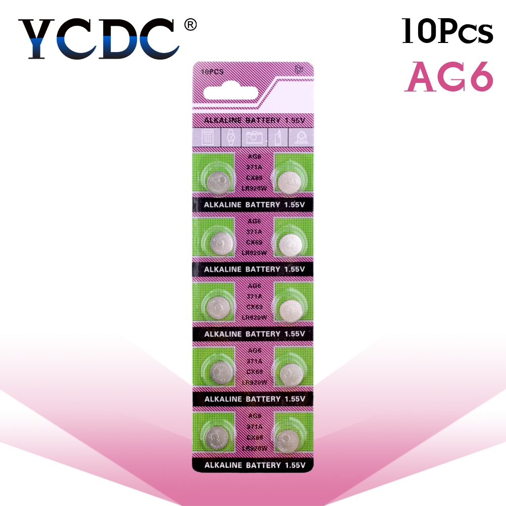 10pcs/pack AG6 LR920 <font><b>371</b></font> L921 Button <font><b>Batteries</b></font> SR927 171 Cell Coin Alkaline <font><b>Battery</b></font> 1.55V 371A CX69 LR920W For Watch Toys Remote image