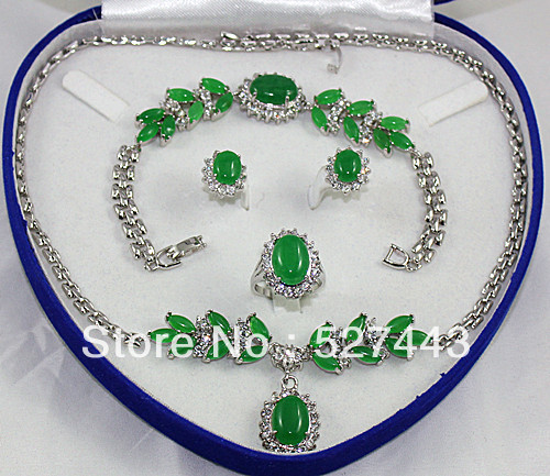 Hot sell Noble- FREE SHIPPING> Wholesale Fashion Silver Green Natural stone Necklace Bracelet Earring Ring Sets Natural jewelryHot sell Noble- FREE SHIPPING> Wholesale Fashion Silver Green Natural stone Necklace Bracelet Earring Ring Sets Natural jewelry