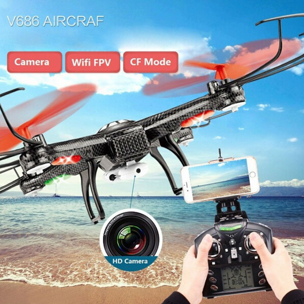 Free Shipping RC drone JJRC V686K 6-Axis Gyro 2.4G 4CH FPV Quadcopter WIFI UFO with HD Camera airplane Vs  X5SW X8W H8D CX-30W jjrc h37 elfie wifi fpv drone with 2 0mp camera foldable g sensor mini rc selfie rc quadcopter 6 axis gyro valentine s day