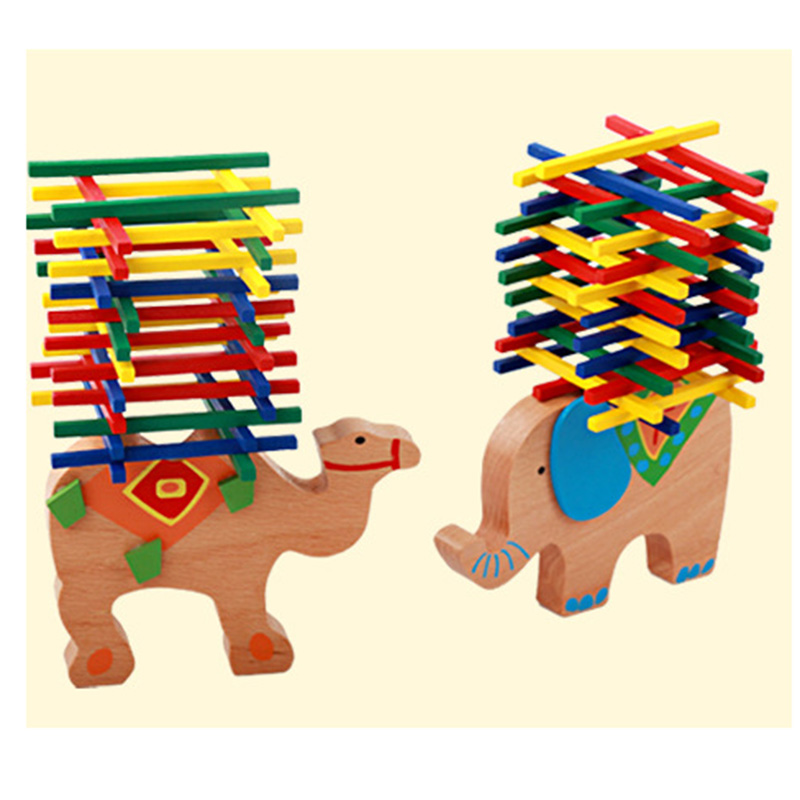 Animal Building Blocks Puzzle Board Game For Family/Party/Friends Funny Game Best Gift For Children Wooden Game