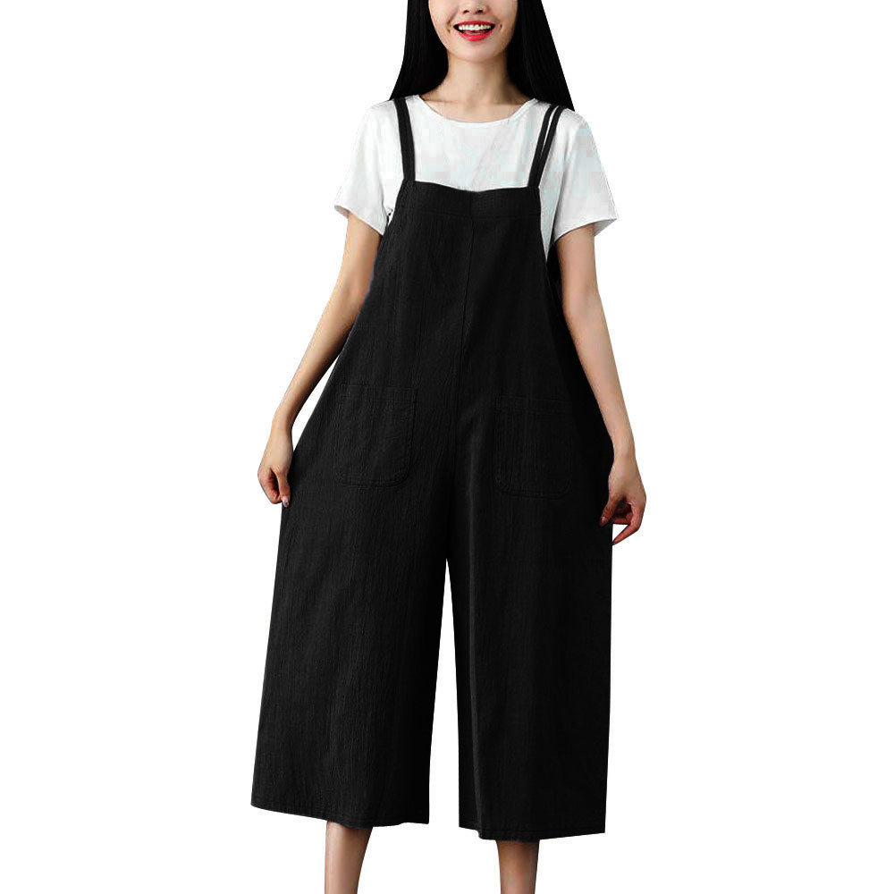 Sleeper#401 2019 NEW FASHION Women   Wide     Leg     Pants   Dungarees Casual Jumpsuits Pocket Sling Trousers Rompers summer Free Shipping