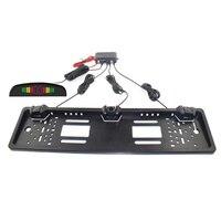 Car Parking Sensor LED Display European License Plate Frame Vehicle Backup Radar Punch Free NR shipping