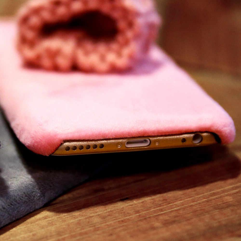 KISSCASE için güzel kürk iphone kılıfları 11 pro max 6s 7 8 artı X XS şapka telefon iphone için kılıf 6 X XR 11 pro kapak sıcak kış kapağı