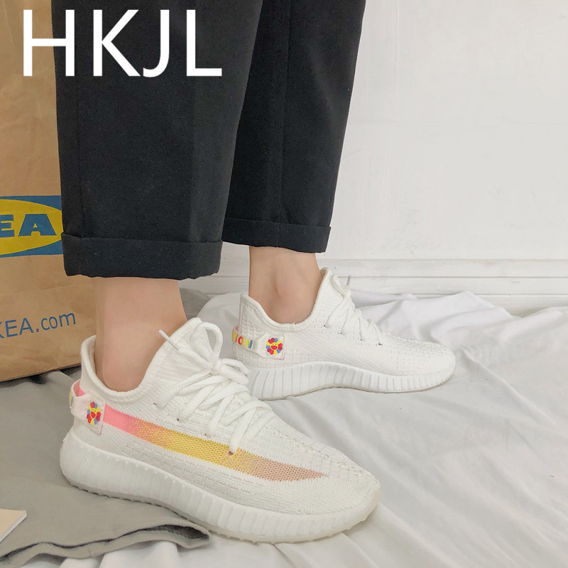 HKJL 2019 summer new breathable female Korean version of the flying woven breathable casual shoes wild sports shoes Z006 in Women 39 s Vulcanize Shoes from Shoes