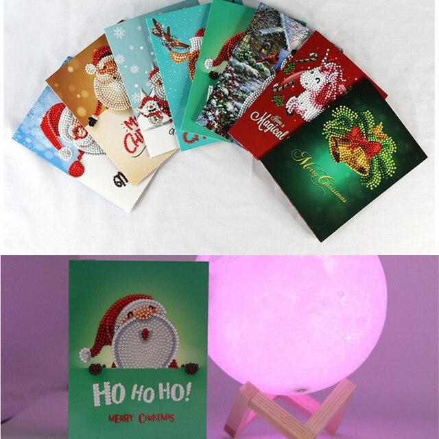 8 sztuk Diament Malowanie Boże Narodzenie Karty Kreskówki Mini Mikołaj Merry Okolicznościowe Pocztówki Craft 5D DIY Kids Festival Pozdrawiam Karty