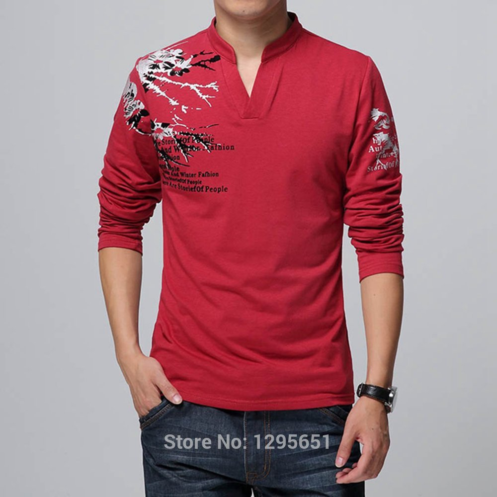 Black t shirt red collar -  Stylish Stand Collar Men Casual Cotton T Shirt Long Sleeves Printed T Shirts