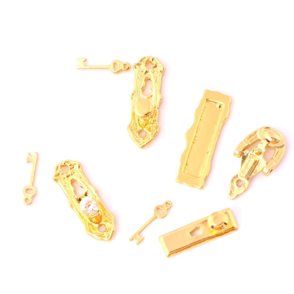 Puppenhaus Miniatur Zubehör Gebürstetes Metall Tür Möbel Klopfer