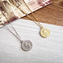 Vintage Carved Coin Figure Pendant Necklace Link Chain Simple Medallion Pendant Necklaces Long Sweater Jewelry Gifts(China)