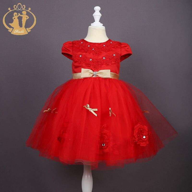 Nimble klänning för tjejer båge blomma applikationer - Barnkläder