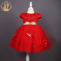 Nimble Princess Kids Dresses For Girls Golden Sashes Bow Flower Appliques Wedding Evening Ball Dress