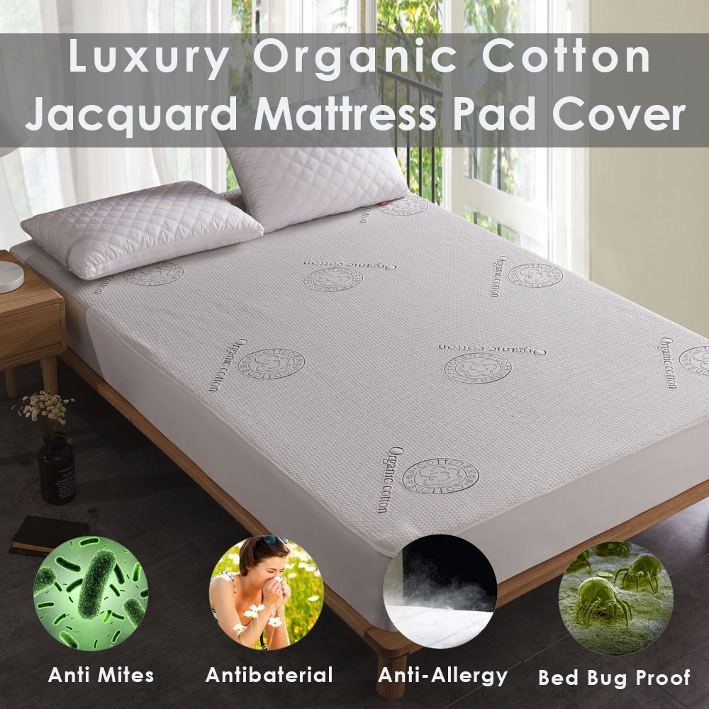 Luxury Hypoallergenic Organic Cotton Waterproof Deep Mattress Pad Protector Jacquard Knit Mattress Pad 100% Waterproof image