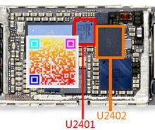 1pair(2pcs) Original new touch digitizer screen ic white U2401 +black U2402 chip for IPHONE 6 6+ 6plus