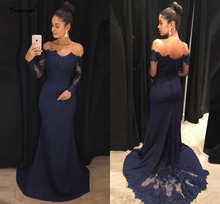 Off The Shoulder Navy Blue Mermaid Prom Dresses Long Sleeves Lace Satin Evening Formal Party Gowns