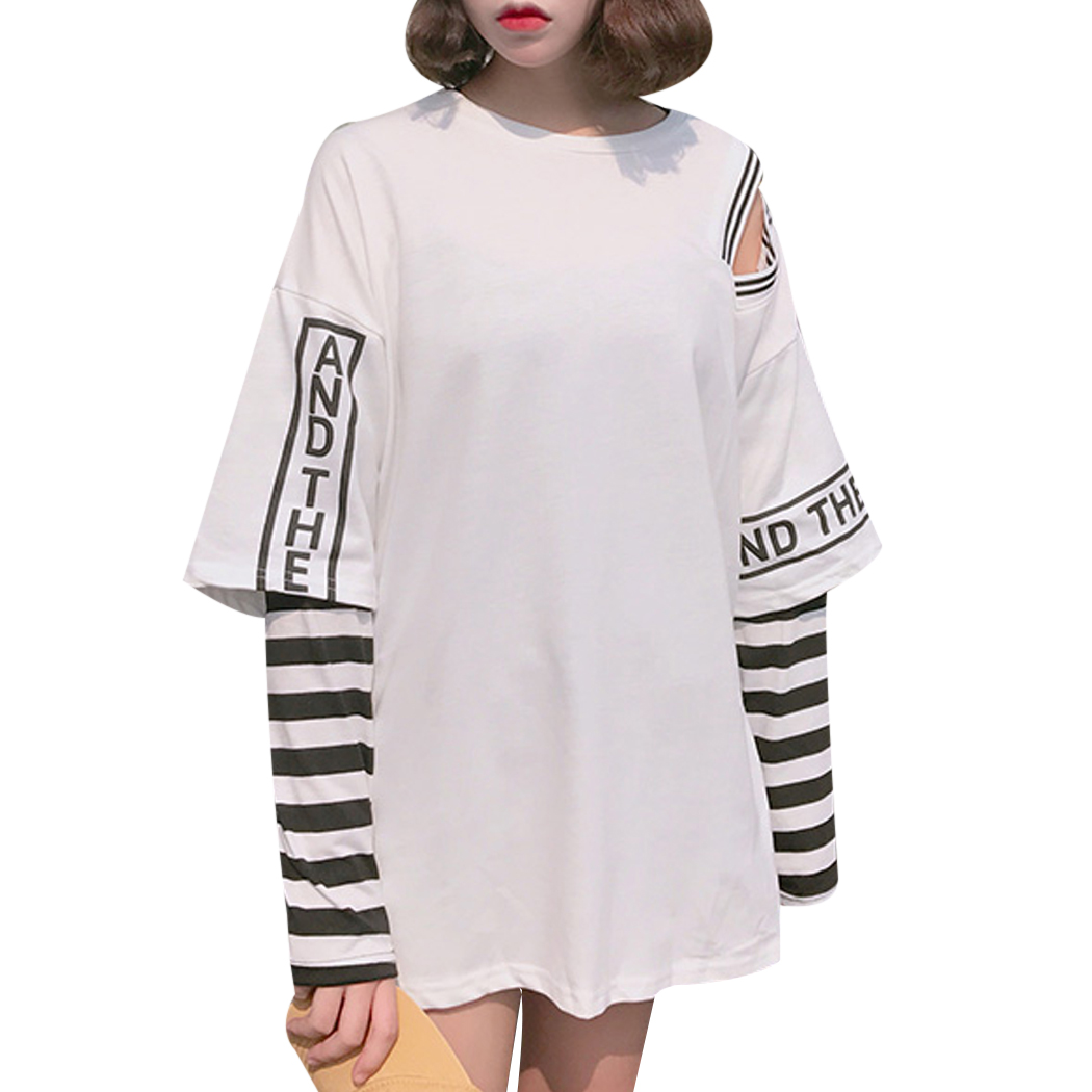 Korean Fashion Women Letter Printed Striped Harajuku T-Shirts 2018 Autumn Long Sleeved Tops Ladies T Shirt Femme Camiseta Mujer