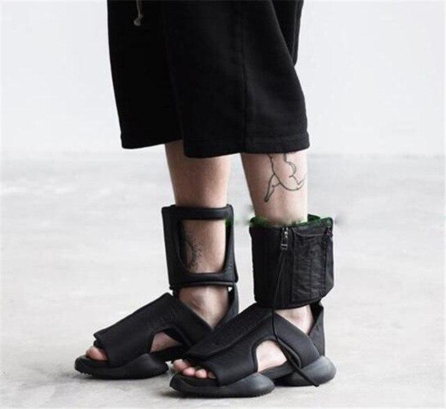436a9e54e453e8 Novelty Mens Sandals Fashion Summer Shoes paltform hook loop Gladiator  Sandals Men Casual cut-out Shoes zipper Men Flip Flops