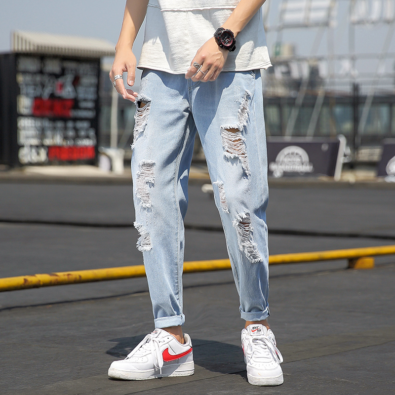 2019 Summer Jeans Men Fashion Streetwear Ripped Jeans For Men Plus Size Light Blue Men Jeans Pants Casual Trousers Male 5XL-M