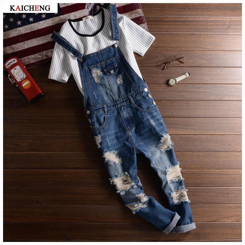 2016 Spring Autumn Fashion Brand Mens Slim Jeane Overalls