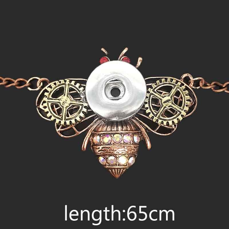 Crystal Bee Butterfly 072 Kvinnors Vintage 12mm 18mm Snap Button Halsband Bohemian Halsband Hängsmycke DIY Smycken För Women Gift