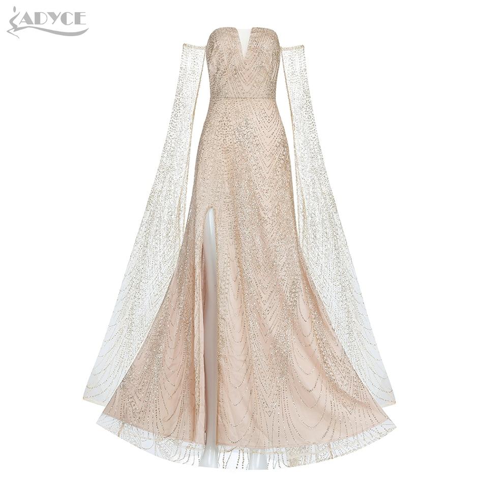 Adyce 2019 New Summer Sexy Women Off Shoulder Sequined Celebrity Evening Party Dress Elegant Long Sleeve Maxi Club Dress Vestido