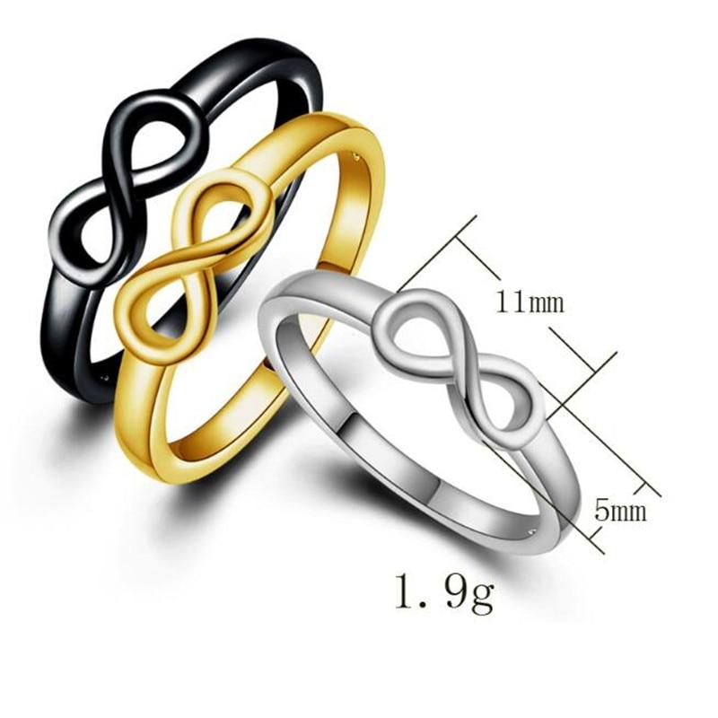 Bovvsky Бесконечность любовь навсегда Юбилей Promise Ring Обручение кольцо Простой себе ювелирные изделия anillos плата Mujer 3 вида цветов