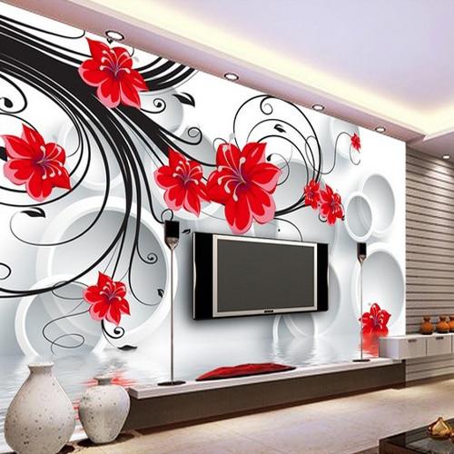 Agreable Taille Personnalisée Photo Style Européen 3D Papier Peint Romantique Rose Rouge  Peint Salon Chambre Canapé Toile De Fond Porche Papier Peint Murale Dans ...