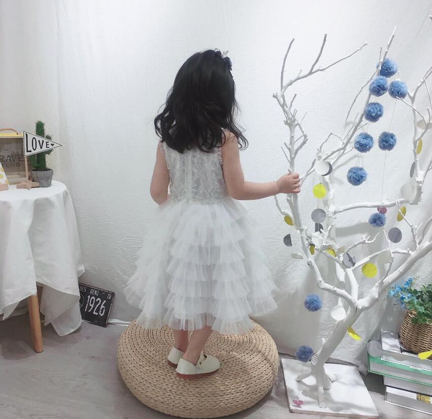 Nouveau 2019 enfants filles Boutique blanc fleur fête gâteau robes, enfants de haute qualité robe de demoiselle d'honneur, 6 pcs/lot livraison gratuite - 4