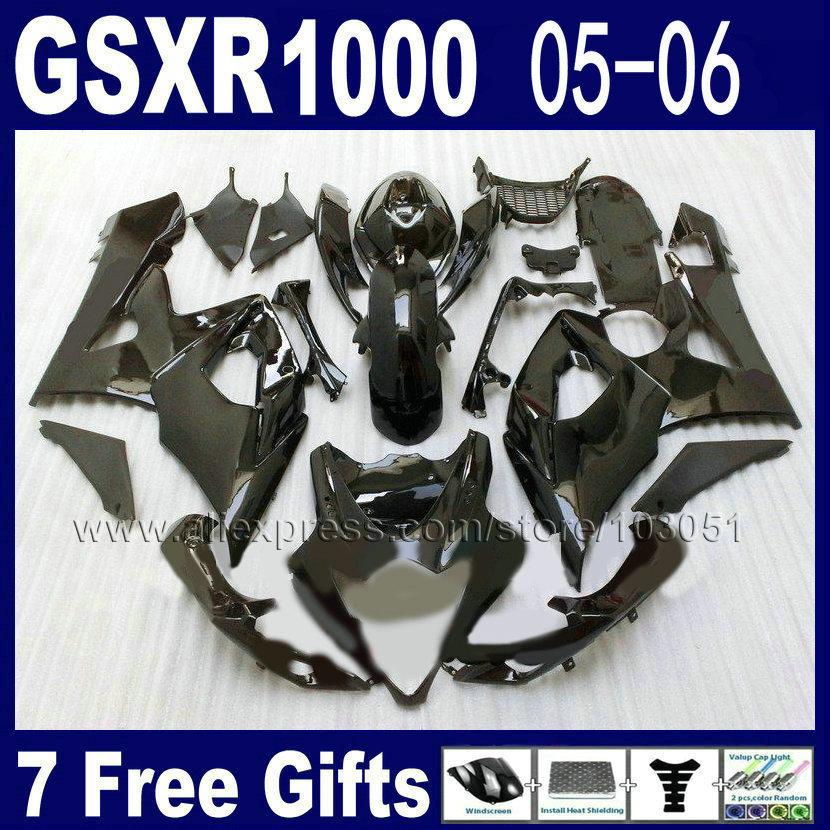 OEM Injection moulding fairing kit for suzuki K5 GSXR 1000 2005 2006 kits 05 06 all glossy black full fairings kits