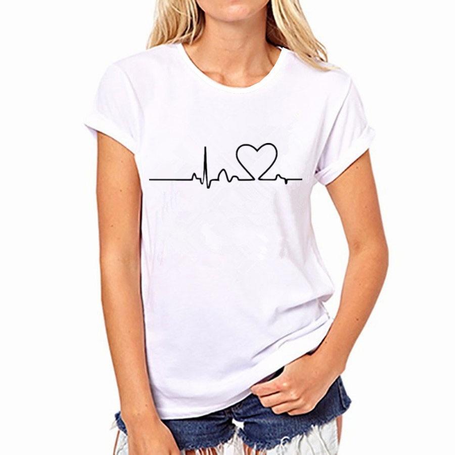 2018 harajuku heart beat love printed women t shirts for Casual white t shirt
