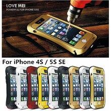 Original LOVE MEI Powerful Drop resistance Gorilla Glass+Aluminum Metal Armor Dirt Waterproof Case for iPhone SE 5S/4S