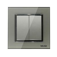 2019 New design EU Standard Wall Switch Luxury Grey Crystal Tempered glass, 2 Gang 1 Way Switch FB-02