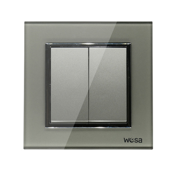 2019 New design EU Standard Wall Switch Luxury Grey Crystal Tempered glass, 2 Gang 1 Way Switch FB-02 1