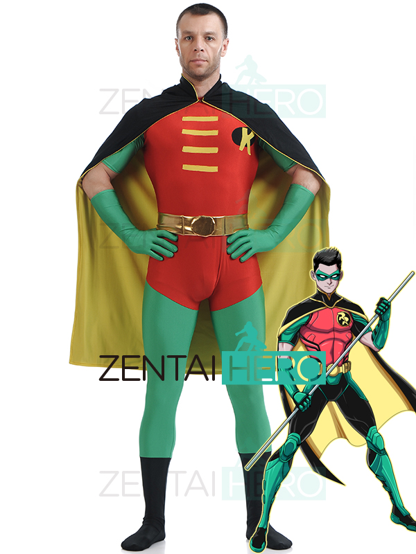 Free Shipping DHL Tights Red&Green Robin Superhero Lycra Bodysuit Zentai Robin Cosplay Costume With Cape For Halloween Party