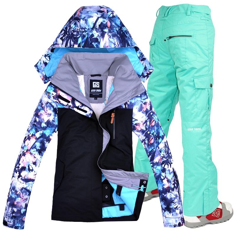 Gsou neige femmes Ski costume hiver Ski veste et pantalon coupe-vent imperméable respirant Ski snowboard costumes