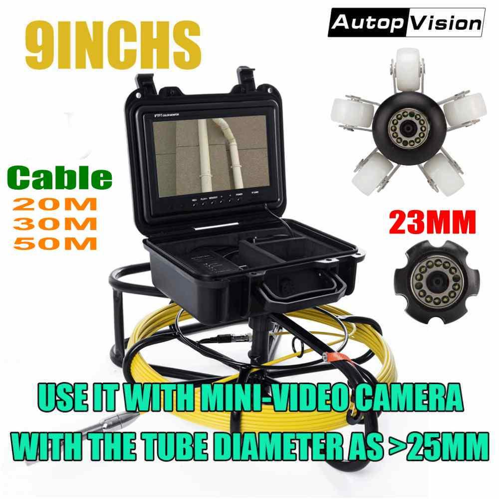 20 м 30 50 HD 1200TVL канализационные система проверки сливных труб камера 9''LCD мониторы 23 мм промышленных эндоскоп для трубопроводов видео WP9600A