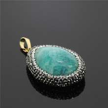Trinket Statement New Fashion Pave Rhinestone Pendant Statement Druzy Gem Rhinestone Stone Pendant for Good-looking Making