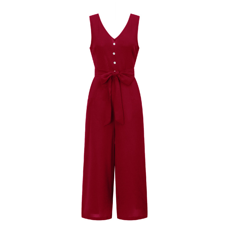 2019 Summer Office Overalls Women   Jumpsuits   Loose Casual Wide Leg Pants Sexy Solid V-neck Sleeveless Jumpers Pockets GV204